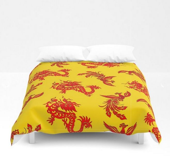 A feng shui bedroom. Phoenix Dragon Feng Shui Duvet Cover. People with impulsive, fiery personalities should go for feng shui bedroom color shades that are slightly the opposite of what they irradiate. #fengshui