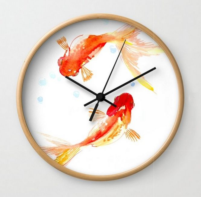 Feng shui decor. Goldfish, Two Koi Fish, Feng Shui, Asian meditation design Wall Clock. The number and usage extent of feng shui items are incredibly large; hence it is understandable why so many people are in search of true love, financial security, good health and the fulfillment of personal aspirations. #fengshui